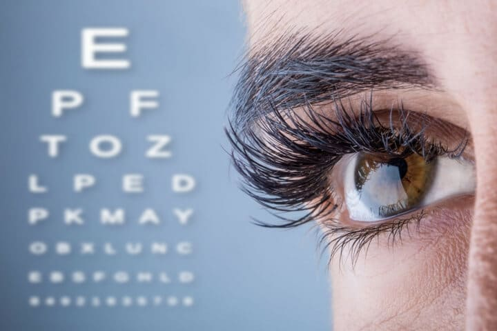Eye chart with brown eye